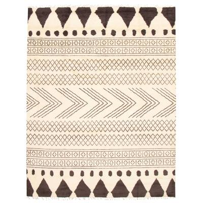 ECARPETGALLERY Hand-knotted Tangier Cream Wool Rug - 9'4 x 12'0