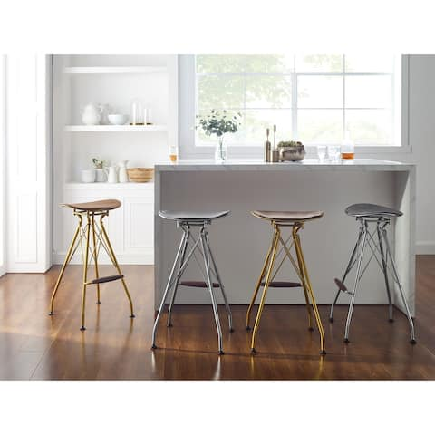 Art Leon Counter Height Metal Barstools with Eiffel Legs(Set of 2)