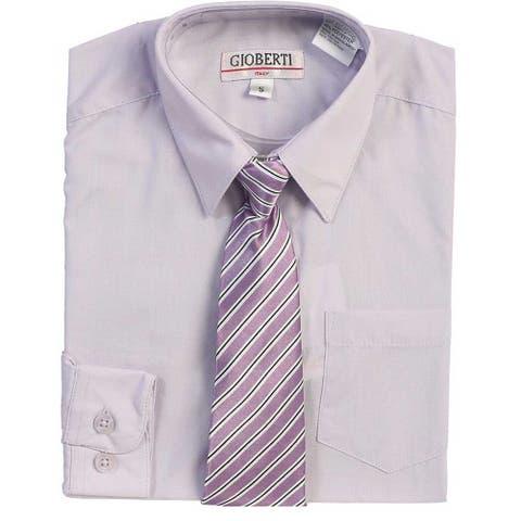 Lilac Button Up Dress Shirt Lilac Striped Tie Set Boys 5-18