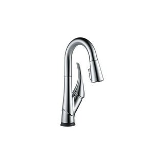 Delta 9981T-DST EsquePull-Down Bar/Prep Faucet with On/Off Touch Activation and Magnetic Docking Spray Head - Includes Lifetime
