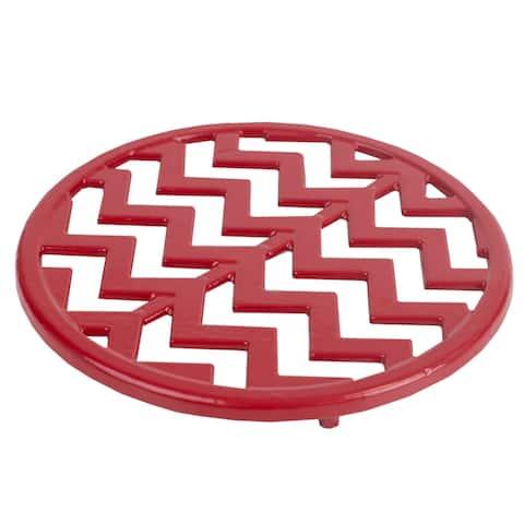 Home Basics Cast Iron Chevron Design Trivet, Red, 8x.5 Inches