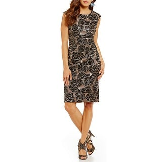 Vince Camuto Sleeveless Metallic Embroidery and Sequin Sheath Dress Black 2
