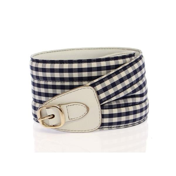 Dolce & Gabbana Dolce & Gabbana Blue Cotton Leather Logo Waist Belt