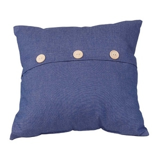 Button Cotton Pillow Poly Blend 17 Square