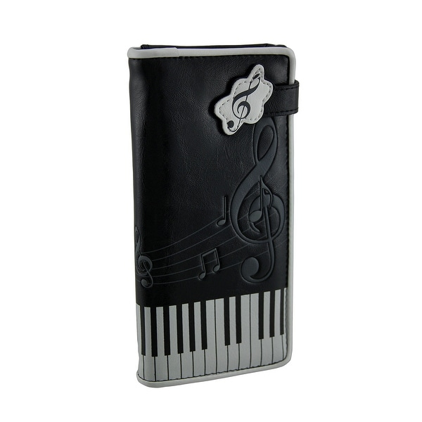 Black Piano Keys and Music Symbols Print Wallet