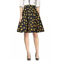 Lady High Waist Floral Prints Mini Vintage Full Skirts Navy Blue Yellow XL - Navy Blue