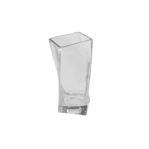 "4.25"" Dual Purpose Twisted Rectangular Transparent Glass Tea Light Candle Holder"