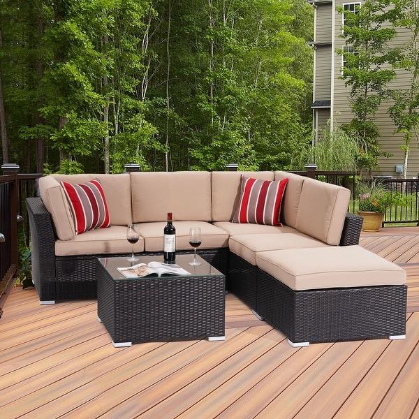 Bonosuki 5 Seater Outdoor Sectional Rattan Conversation Sofa. Opens flyout.