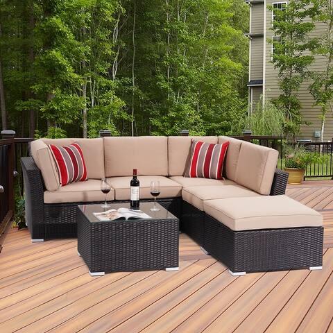 5 Seater Outdoor Sectional Rattan Conversation Sofa by Bonosuki