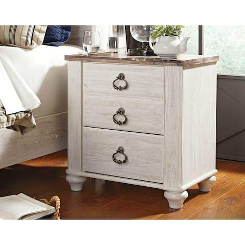 Ashley Furniture B267-92 Willowton Two Drawer Night Stand w/ Two-Tone Finish