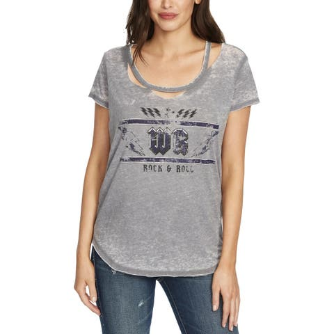 William Rast Womens Riot Graphic T-Shirt Ripped Faded