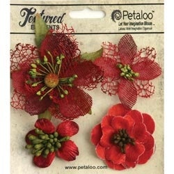 "Red - Mixed Textured Blossoms 1.25"" - 2.5"" 4/Pkg"