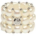 D'AMA 3 Strand Freshwater Cultured Pearl Womens Stretch Ring - Thumbnail 1