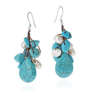 Link to Handmade Dangle Cluster Turquoise White Pearl Sterling Silver Dangle Earrings (Thailand) Similar Items in Earrings