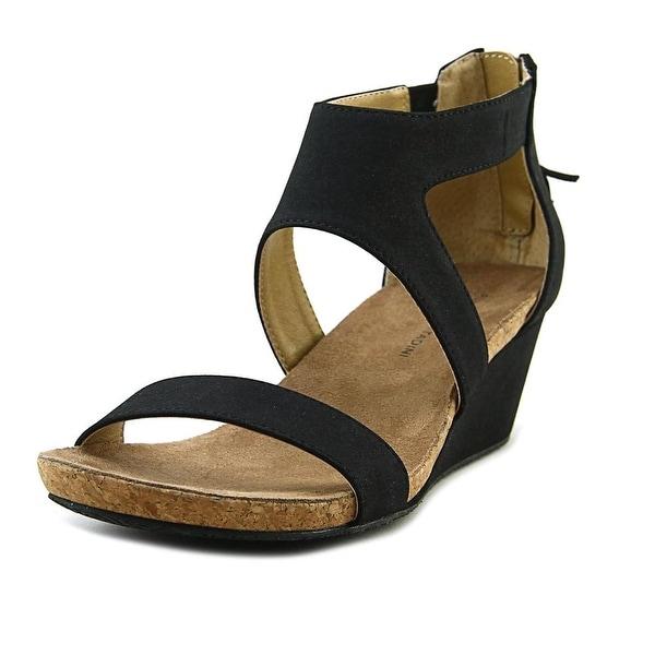 3f28d4b055 Adrienne Vittadini Thalia 2 Women Open Toe Synthetic Black Wedge Sandal