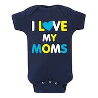 I Love My Moms, Blue Yellow  - Infant One Piece
