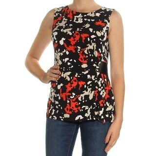 Womens Black Printed Sleeveless Jewel Neck Top Size M