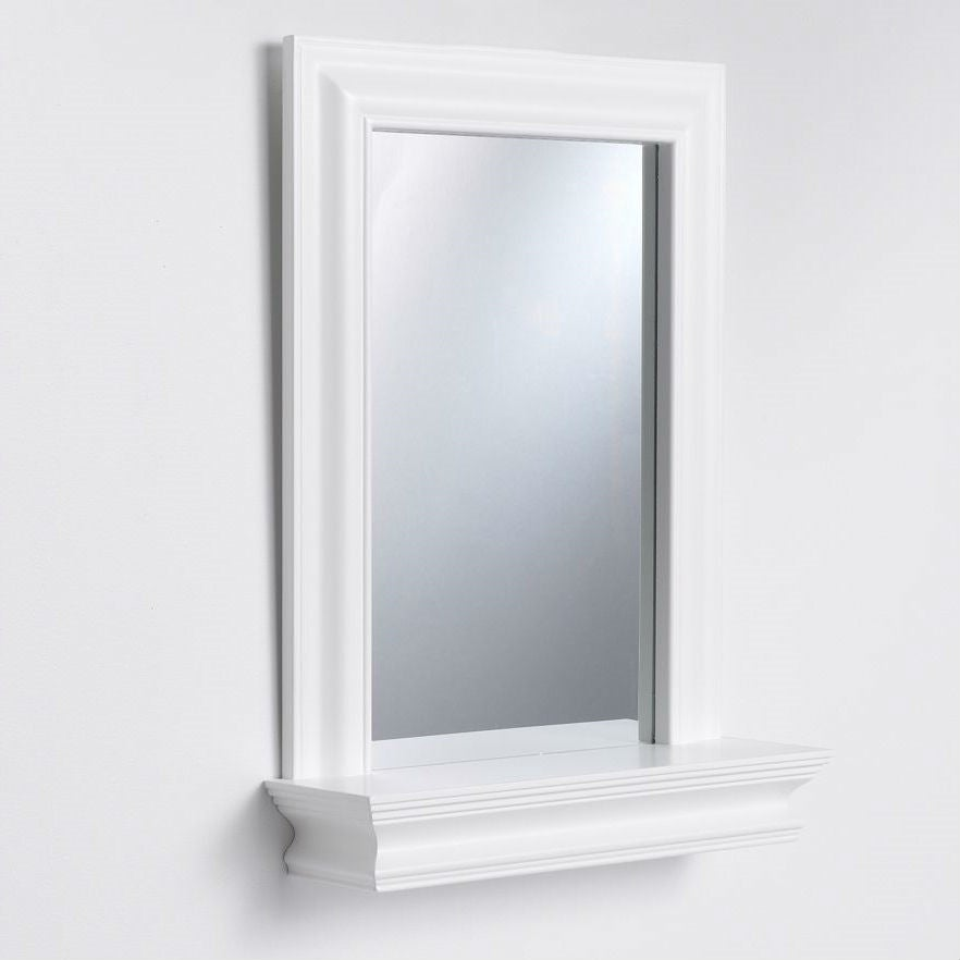 Framed Bathroom Mirror Rectangular Shape With Bottom Shelf In White Wood Finish 5 X 18 X 24 Inches Overstock 29084502