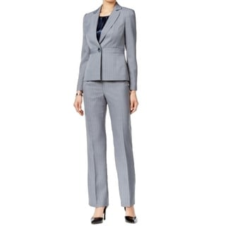 Le Suit NEW Gray Women's Size 18 Notch Collar Striped Pant Suit Set