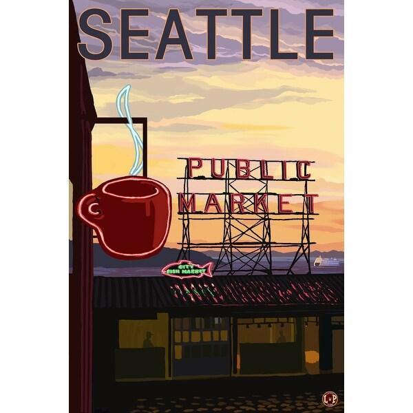 Seattle, WA - Pike Place Market Sign - LP Artwork (Acrylic Wall Clock)