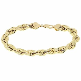 """Mens Ladies Hollow Rope Link Bracelet 10k Yellow Gold Diamond Cut 4mm 9"""" Inches"""