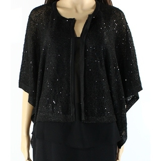 Alfani NEW Black Womens Size Large L Cardigan Knit Sequin Sweater
