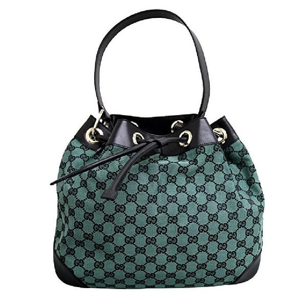 Gucci Green GG Canvas and Leather Drawstring Shoulder Bag