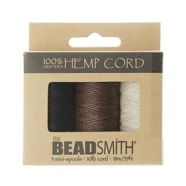 Beadsmith Natural Hemp Twine Bead Cord .5mm Three Color Variety 59 Feet Each