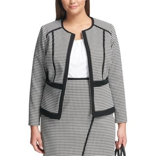 Link to Calvin Klein Womens Houndstooth Jacket, black, 24W Similar Items in Women's Outerwear