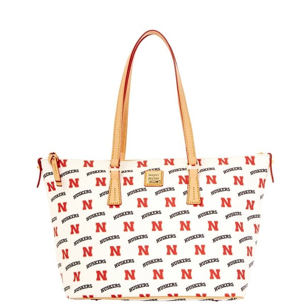 Dooney & Bourke NCAA Nebraska Zip Top Shopper (Introduced by Dooney & Bourke at $248 in Nov 2014) - White