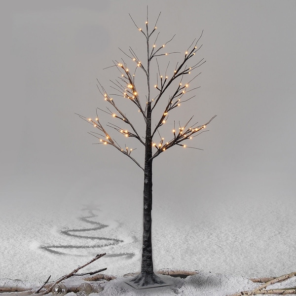 Costway 5Ft Christmas Xmas Brown Birch Snow Tree LED Light Warm Decorative Festival Party - as pic