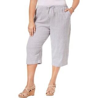 Karen Scott Womens Plus Lounge Pants Seersucker Pinstripe