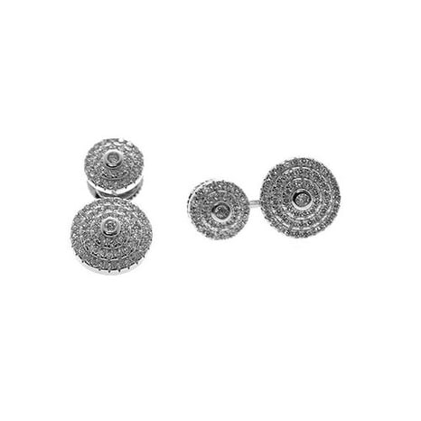 925 Sterling Silver Double Halo Earjacket with Cubic Zirconia