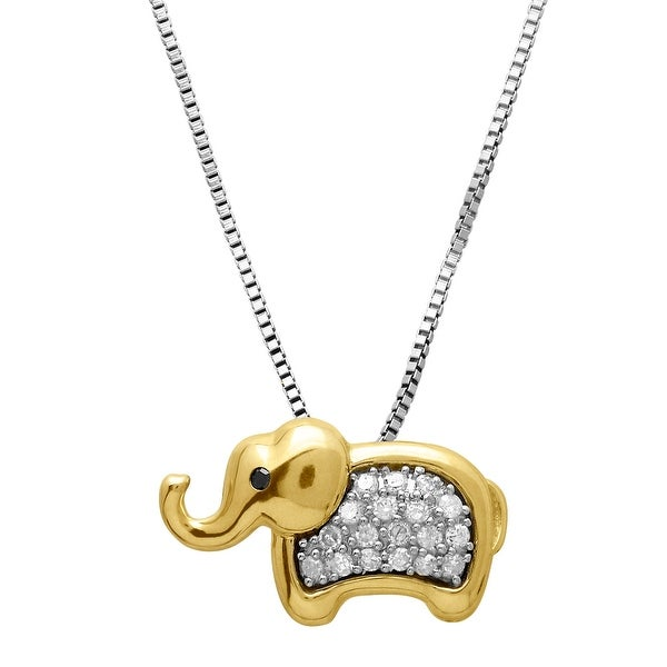 1/6 ct Diamond Elephant Pendant in Sterling Silver & 14K Gold
