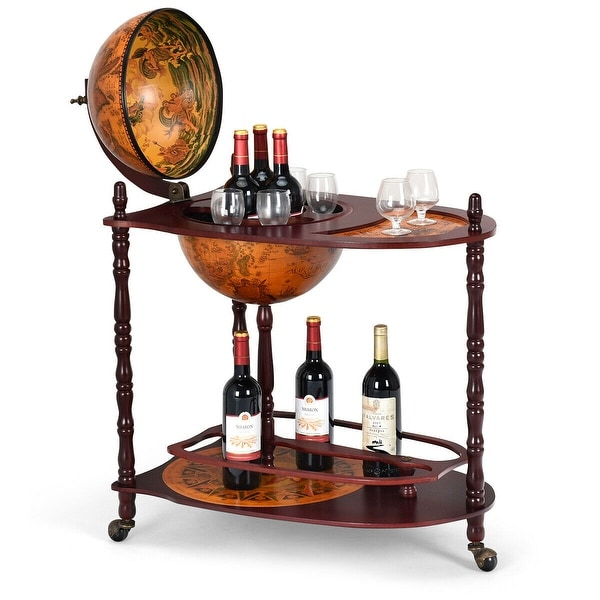 Costway Wood Globe Wine Bar Stand 34'' H 16th Century Italian Rack Liquor Bottle Shelf - as pic