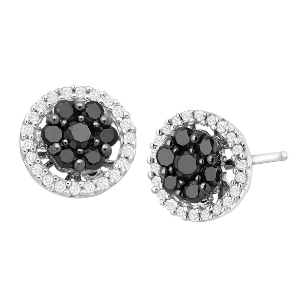 1/2 ct Black & White Diamond Halo Stud Earrings in 14K White Gold