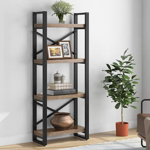Solid Wood Bookshelf 4-Tier Bookcase Corner Shelf for Small Space