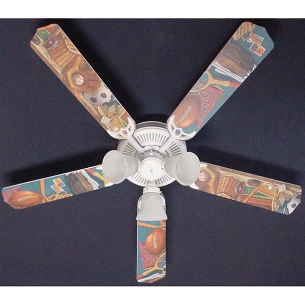 Classic Sports Print Blades 52in Ceiling Fan Light Kit - Multi
