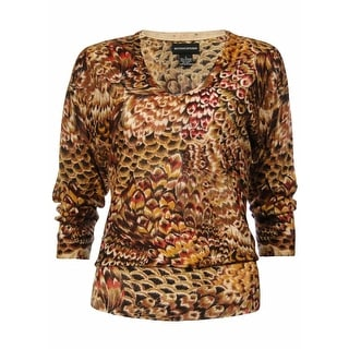 Sutton Studio Women's 100% Cashmere Dolman Print Sweater