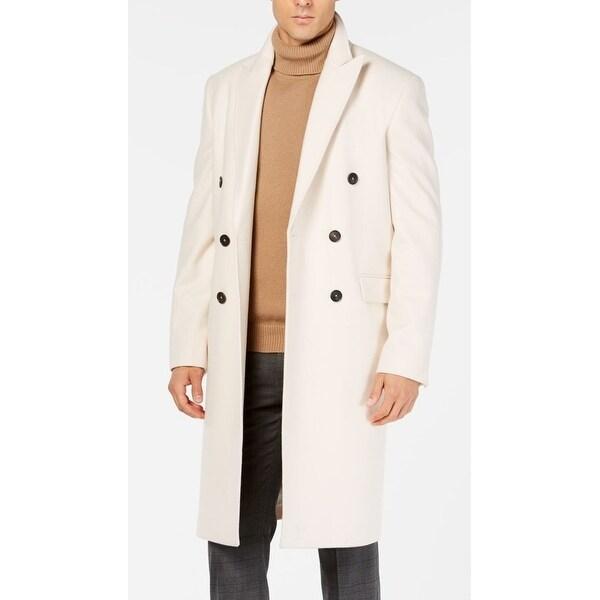 Calvin Klein Mens Coat Beige Size 36R Overcoat Wool Double-Breasted. Opens flyout.