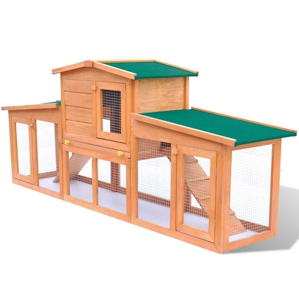 vidaXL Large Rabbit Hutch Small Animal House Pet Cage with 2 Runs Wood