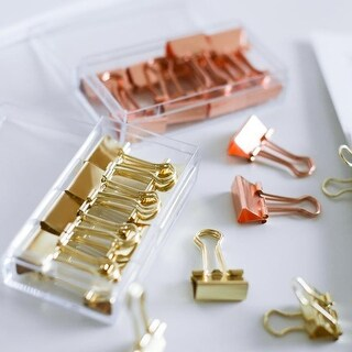 G Home Collection Modern Binder Clips Gold and Rose Set of 2 Boxes