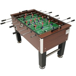 Sunnydaze Faux Wood Foosball Game Table with Folding Drink Holders - 55-Inch