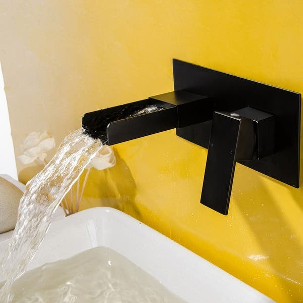 Waterfall Wall Mount 2 Hole Bathroom Sink Faucet With Rough In Valve On Sale Overstock 32667367