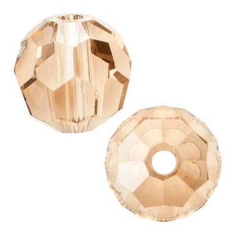 Swarovski Elements Crystal, 5000 Round Beads 10mm, 6 Pieces, Crystal Golden Shadow