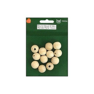 "Lara's Wood Pkg Round Beads 9/16"" 12pc"