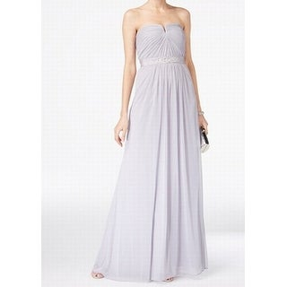 Adrianna Papell Gray Womens Size 4 Embellished Chiffon Gown Dress