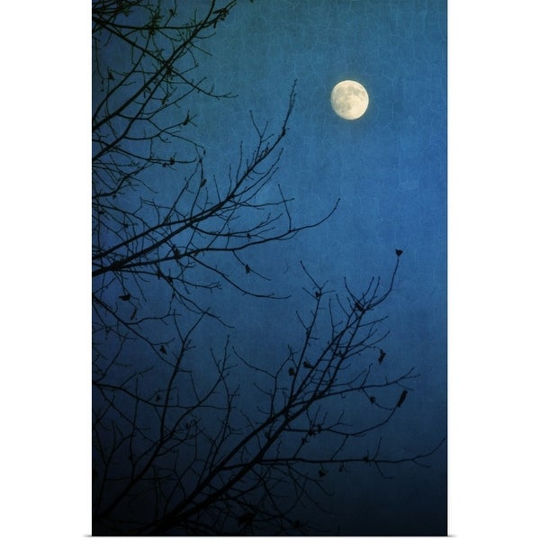 """""""Full moon in deep blue sky framed by bare branches in silhouette of leafless tree."""" Poster Print"""