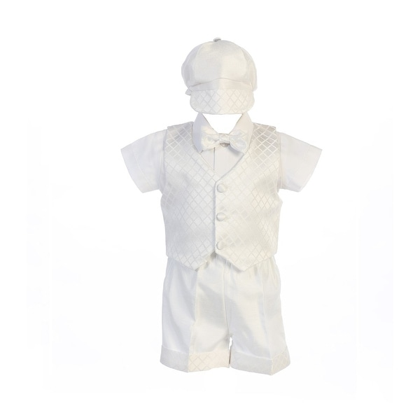 4d3b13c6aa3a0 Shop Baby Boys White Diamond Jacquard Vest Shorts Hat Baptism Outfit - Free  Shipping Today - Overstock - 23081203