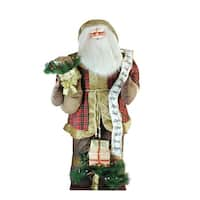 8' Huge LED Lighted Inflatable Musical Santa Claus Christmas Figure with Gift Bag - brown